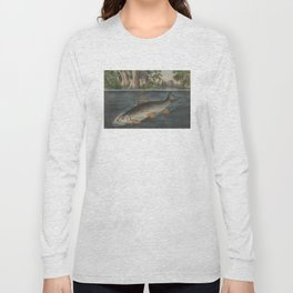 Vintage Illustration of a Hooked Brook Trout (1874) Long Sleeve T-shirt