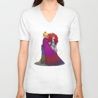 merida V-neck T-shirts featuring Elsa & Merida  by Kiome-Yasha