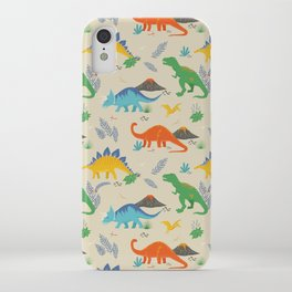 Jurassic Dinosaurs in Primary Colors iPhone Case