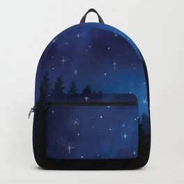 Stars in Space Over Forest (blue) Backpack