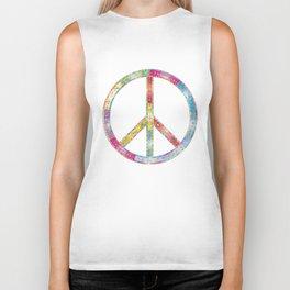 flourish decorative peace sign Biker Tank