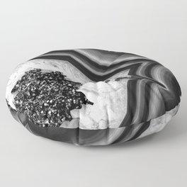 Gray Black White Agate with Black Silver Glitter #1 #gem #decor #art #society6 Floor Pillow