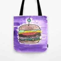 hamburger Tote Bags featuring hamburger by yayanastasia
