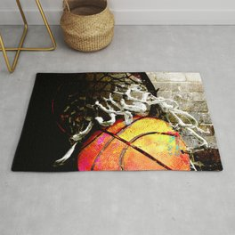 Basketball art print swoosh 108- basketball artwork Rug