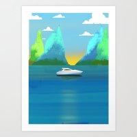 Island Yacht Art Print