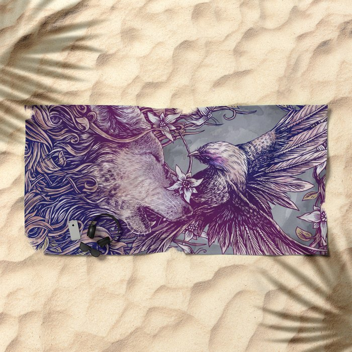 Romance Wolf Beach Towel