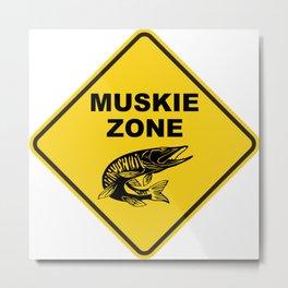 Muskie Fishing Zone Sign Metal Print