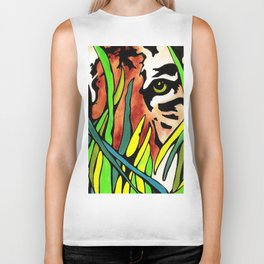 Tiger Eyes Looking Through Tall Grass By annmariescreations Biker Tank