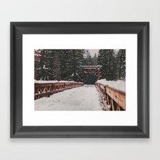 Nisqually River Suspension Bridge Framed Art Print