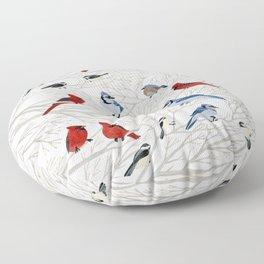 Winter Birds Floor Pillow