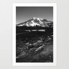 Mount Rainier in Black and White Art Print