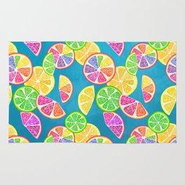Fruit Slice Pattern on Teal Rug