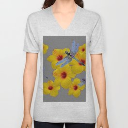 BLUE DRAGONFLIES YELLOW HIBISCUS GREY Unisex V-Neck