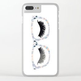 Glasses and Lashes (aka Nerdy and Flirty) Clear iPhone Case