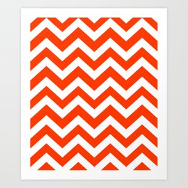 Coquelicot - red color - Zigzag Chevron Pattern Art Print