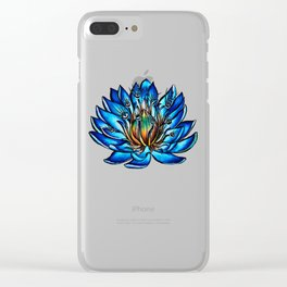 Multi Eyed Blue Water Lily Flower Clear iPhone Case