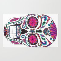 sugar skull Area & Throw Rugs featuring Sugar Skull by Laura Maxwell