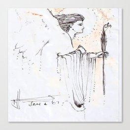 Man's Face , Drawing ,black &white, art, modern, Greek,ink, t-shirt, USA. Canvas Print