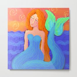 Beautiful Mermaid Abstract Digital Painting Metal Print