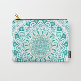 White Mandala on Blue Green Distressed Background with Detail and Textured Carry-All Pouch
