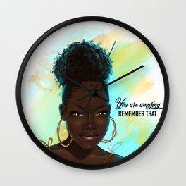 Black girl natural hair Wall Clock