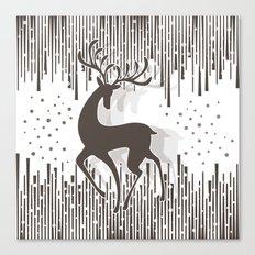 Dancing Deer - Black & White Canvas Print