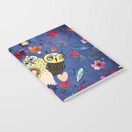 3 Wise Owls in Flower Garden at Night Notebook