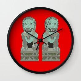 Lion Statues Wall Clock