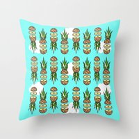 pinapple Throw Pillows featuring Eat pineapples by Jan Luzar