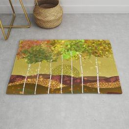 Sunset in the colors plain Rug
