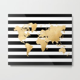Gold world map black and white stripes Metal Print