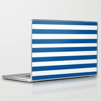 preppy Laptop & iPad Skins featuring Preppy Navy & White Stripe by Sweet Karalina