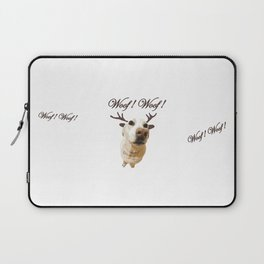 Deer dog woof Christmas childrens brown white decor quotes society6 comic Laptop Sleeve