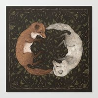 fleet foxes Canvas Prints featuring Foxes by Jessica Roux