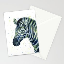 Zebra Watercolor Blue Green Animal Stationery Cards