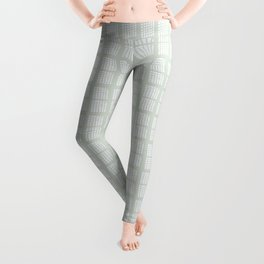 Hand drawn block pattern in pale moss green and white Leggings