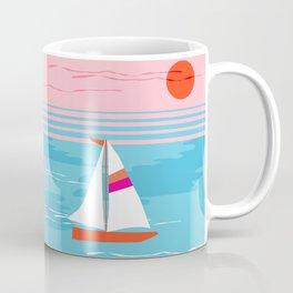 Mellow Out - memphis throwback retro classic neon yacht boating sailboat ocean sea 1980s 80s pop art Coffee Mug