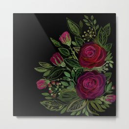 A bouquet of roses on a black background . Metal Print