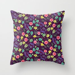 Etno flowers Throw Pillow