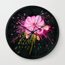 Color Eruption On Distressed Dark Wall Clock