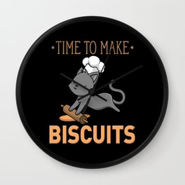 Cat Bakes Cookies With Chef Hat Gift Wall Clock
