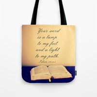 bible Tote Bags featuring Bible  by Jo Bekah Photography