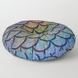 Cobalt Cantaloupe Scales Floor Pillow