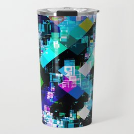 psychedelic geometric square pixel pattern abstract in blue yellow pink Travel Mug