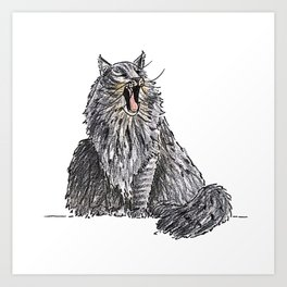Long Haired Yawning Cat Illustration Art Print