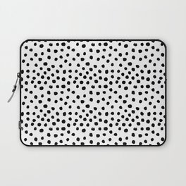 Preppy black and white dots minimal abstract brushstrokes painting illustration pattern print Laptop Sleeve