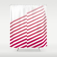 bands Shower Curtains featuring Red Bands by blacknote