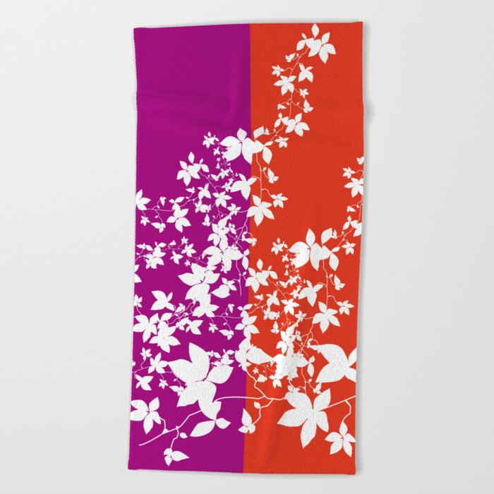 Climbing Flowers Beach Towel