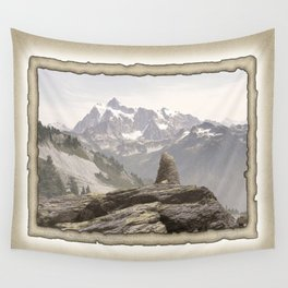VINTAGE STONE MONUMENT AND MOUNT SHUKSAN Wall Tapestry