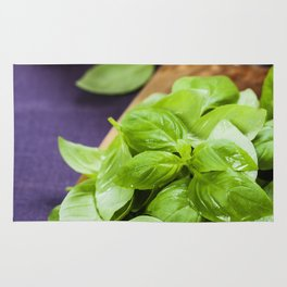 Basil and ingredients for making italian pasta Rug